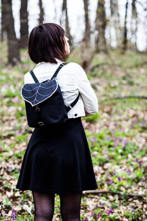 Black Leaf Mini Backpack Women's Rucksack Hipster by LeaflingBags