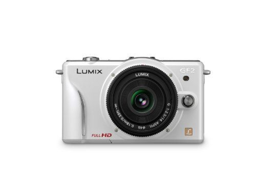 Panasonic Lumix DMC-GF2 12 MP Micro Four-Thirds Interchangeable Lens Digital Camera with 3.0-Inch Touch-Screen LCD and 14mm f/2.5 G Aspherical Lens (White) by Panasonic. $595.00. From the Manufacturer                The Lumix DMC-GF2, the latest of Panasonic's DSL Micro (DSLM) compact mirrorless cameras, is Panasonic's smallest and lightest interchangeable lens system camera--complete with a built-in flash. The Lumix GF2 is compatible with lenses from the Micro Four Thi...