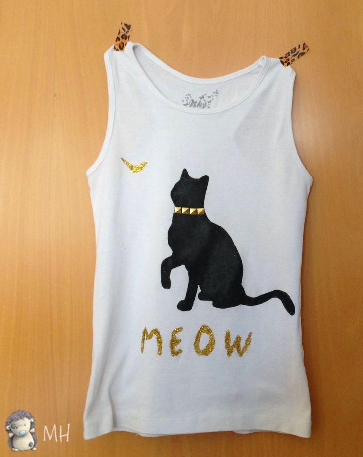 Camiseta con Gatito y Mariposa en Purpurina, Tutorial