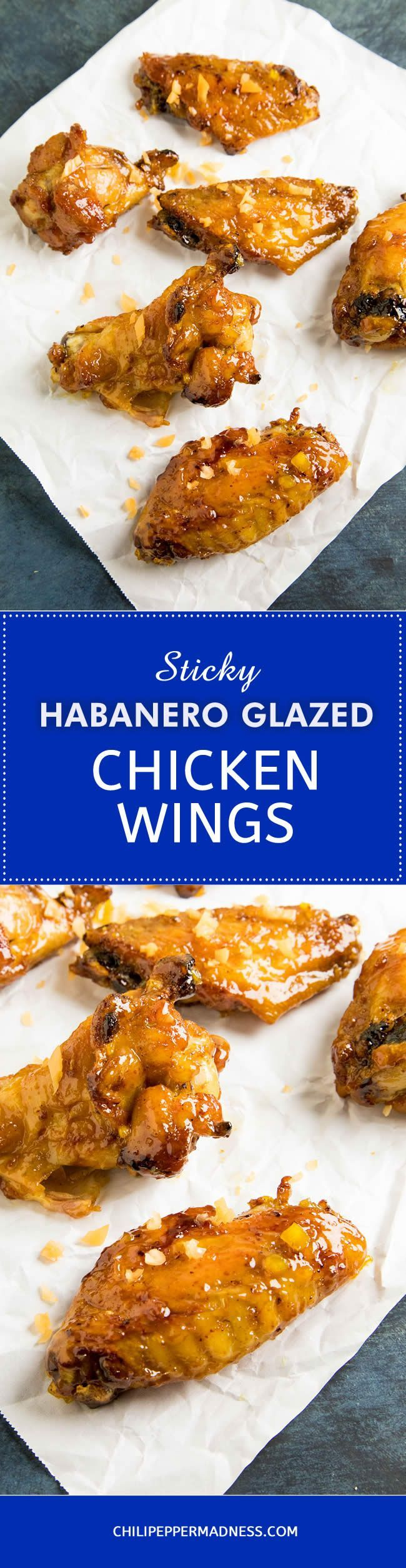 Sticky Habanero Glazed Chicken Wings – A recipe for spicy chicken wings seasoned and baked to the perfect crispiness, then tossed with sweet pepper jam and habanero peppers. Easy to make and perfect for game day. Or any day!  #recipe #recipeoftheday #recipeideas #recipesharing #chickenwings #gameday #gamedayfood #habanero #spicy #spicyfood #hotandspicy