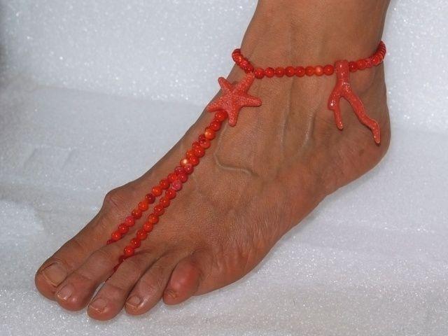 Cavigliera donna sandalo da spiaggia a piedi nudi gioiello da spiaggia