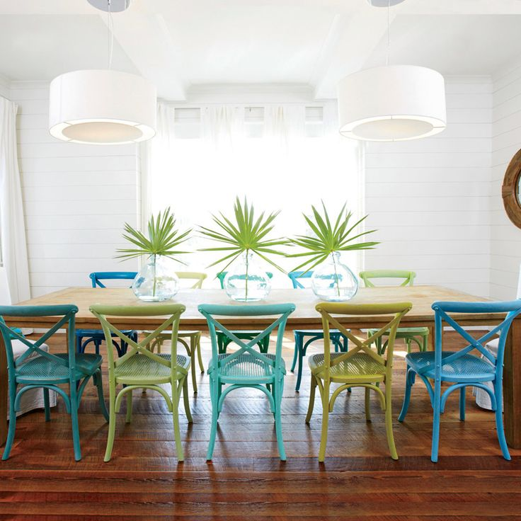 Beach House Dining Room With Colorful Chairs