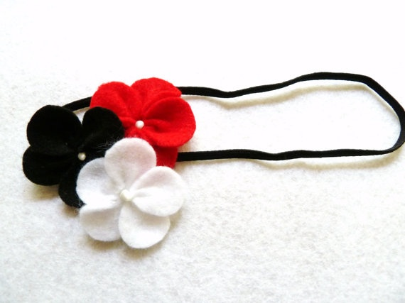 Red Black and White Felt Flower Elastic Headband by PeachParadise, $6.00