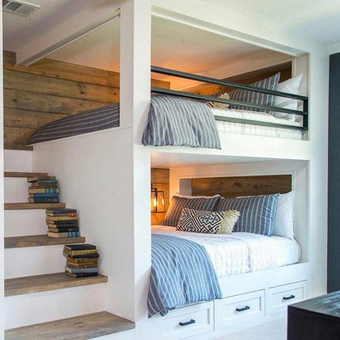 lit mezzanine 2 places, escalier en bois et blanc, deux lits superposés