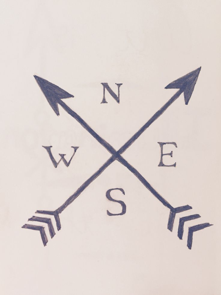 Tattoo idea, crossed arrows, arrow tatto, NESW, directions, compass