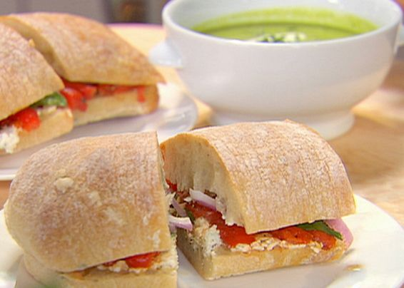 We love this sandwich it's even better when you add grilled chicken.  Roasted Pepper and Goat Cheese Sandwiches from FoodNetwork.com
