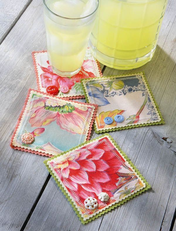 Hankie Coasters - Crafts 'n things   (interesting concept would work with any fabric, like blue delft china patterned fabric to match dishes)                                                                                                                                                      More