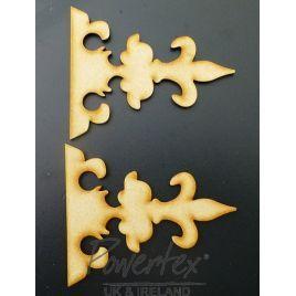 mdf pair of hinges no 1, mdf shape, mdf hinges, decorative hinges, craft project, mixed media embellishments, craft embellishment, wooden hinge, powertex uk, powertex,