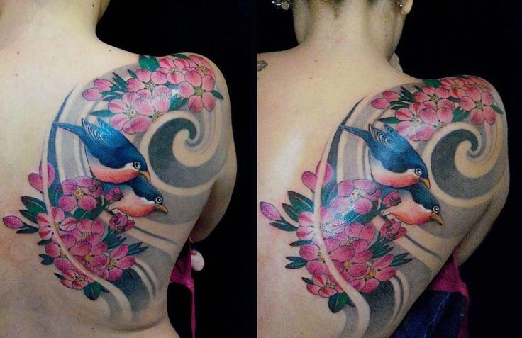 See More Birds And Flowers Tattoos On Back  Pinterest Tattoo Tatting Shops