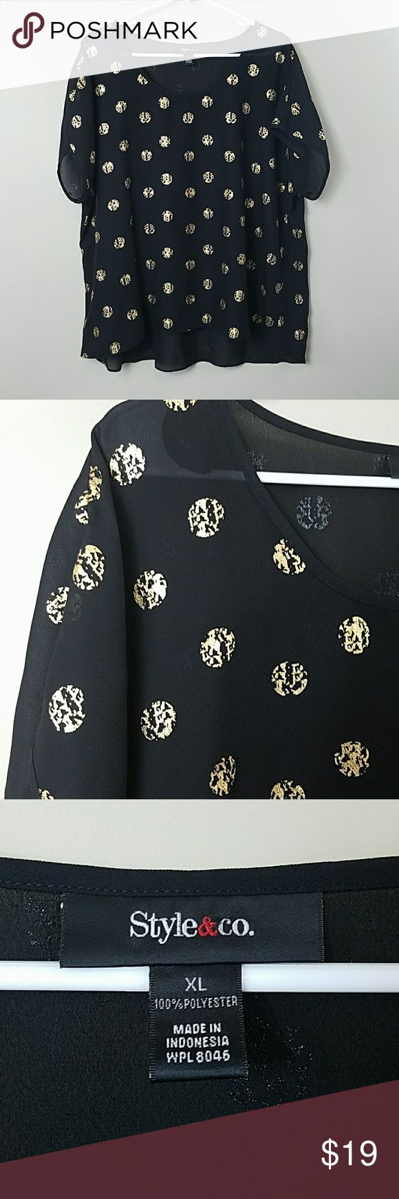 """Style & Co Gold Polka Dot Blouse Style & Co Gold Polka Dot Blouse.   Size XL.  Beautiful black, semi-sheer short sleeve top with gold foil-like polka dots.  Excellent condition! 26"""" across the bust.  27.5"""" long. 100% polyester. Style & Co Tops Blouses"""