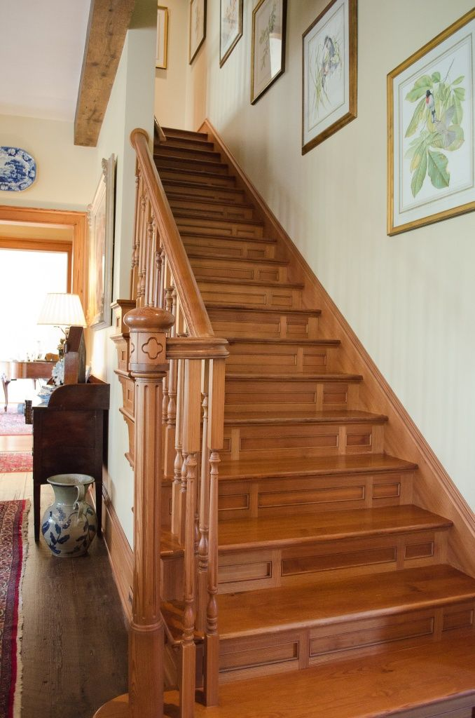 Heart Pine Staircase with heart pine newel posts, balusters, handrail, step treads.
