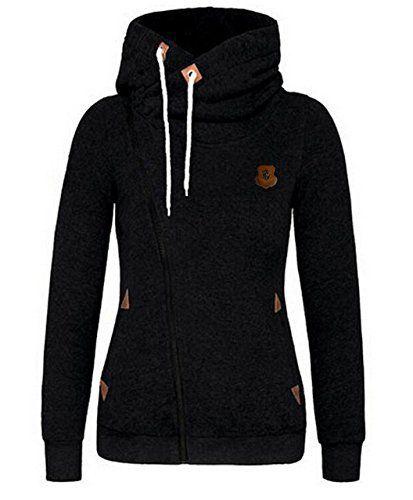 Minetom Femmes Automne Hiver Printemps Capuche Veste Mode Casual Outerwear Oblique Zipper Manteau Noir 40: Tweet Couleur: noir, gris, gris…