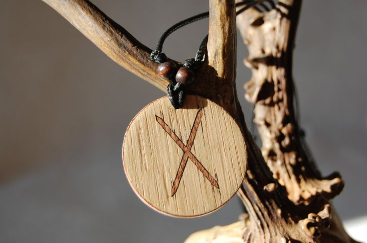 "Gebo rune necklace ""Love and Attraction"" charm. Marquetry Mahogany & Oak by RunicJewellery on Etsy"