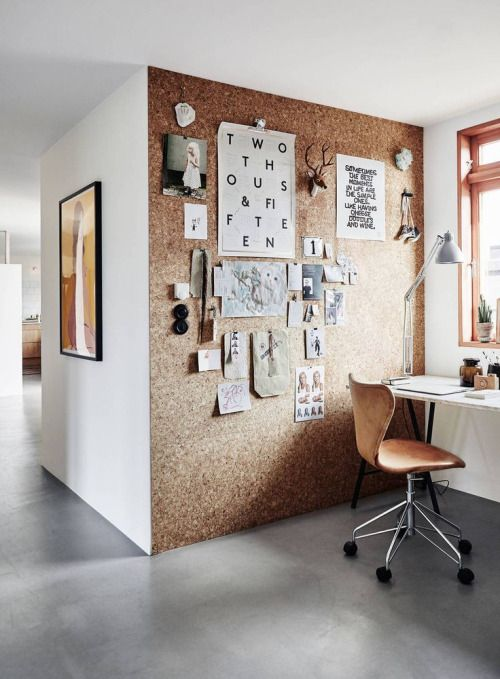 Cork wall | Office wall | Office wall ideas | Office design ideas | Inspiring office | Gallery wall | Home office inspiration