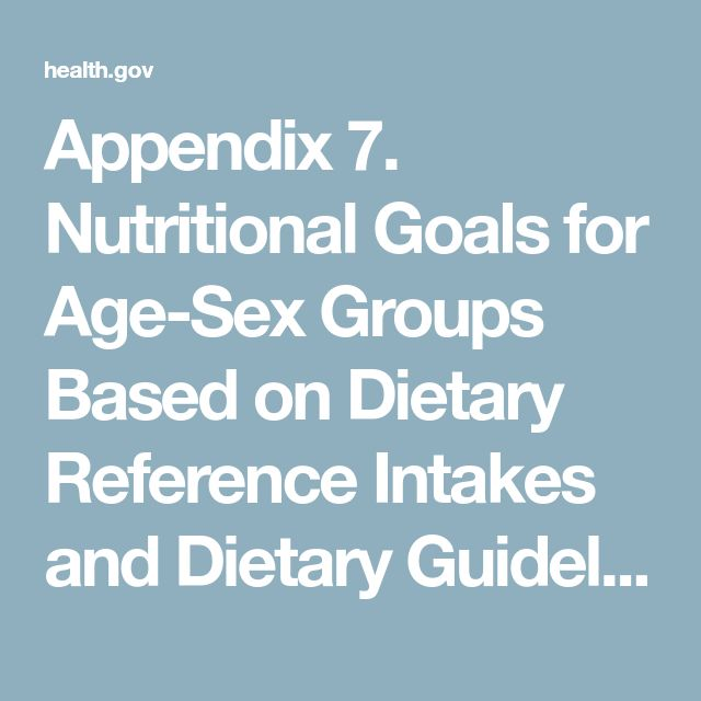 Appendix 7. Nutritional Goals for Age-Sex Groups Based on Dietary Reference Intakes and Dietary Guidelines Recommendations - 2015-2020 Dietary Guidelines - health.gov