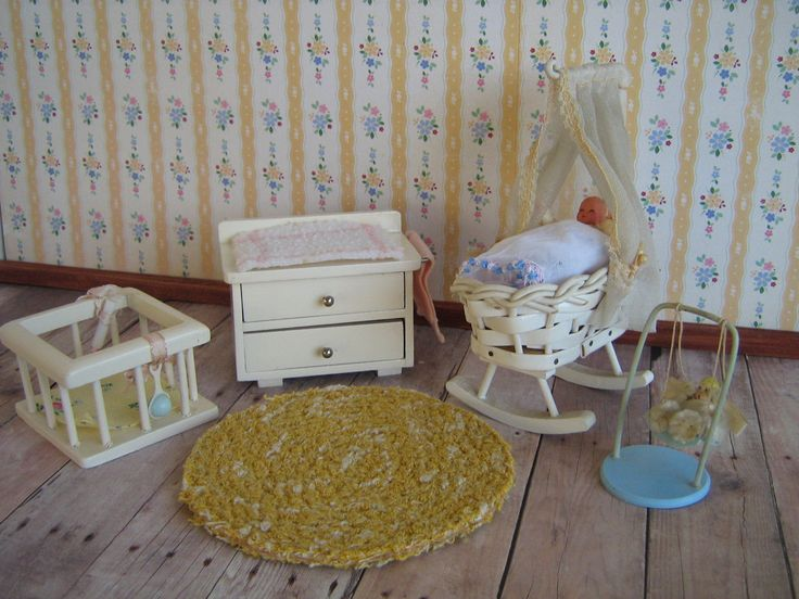 "Vintage German Baby Nursery Room Dollhouse Furniture-White Wood Cradle, Playpen,Changing Table and Toy Swing in 3/4"" Scale-GREAT CONDITION! by TheToyBox on Etsy"