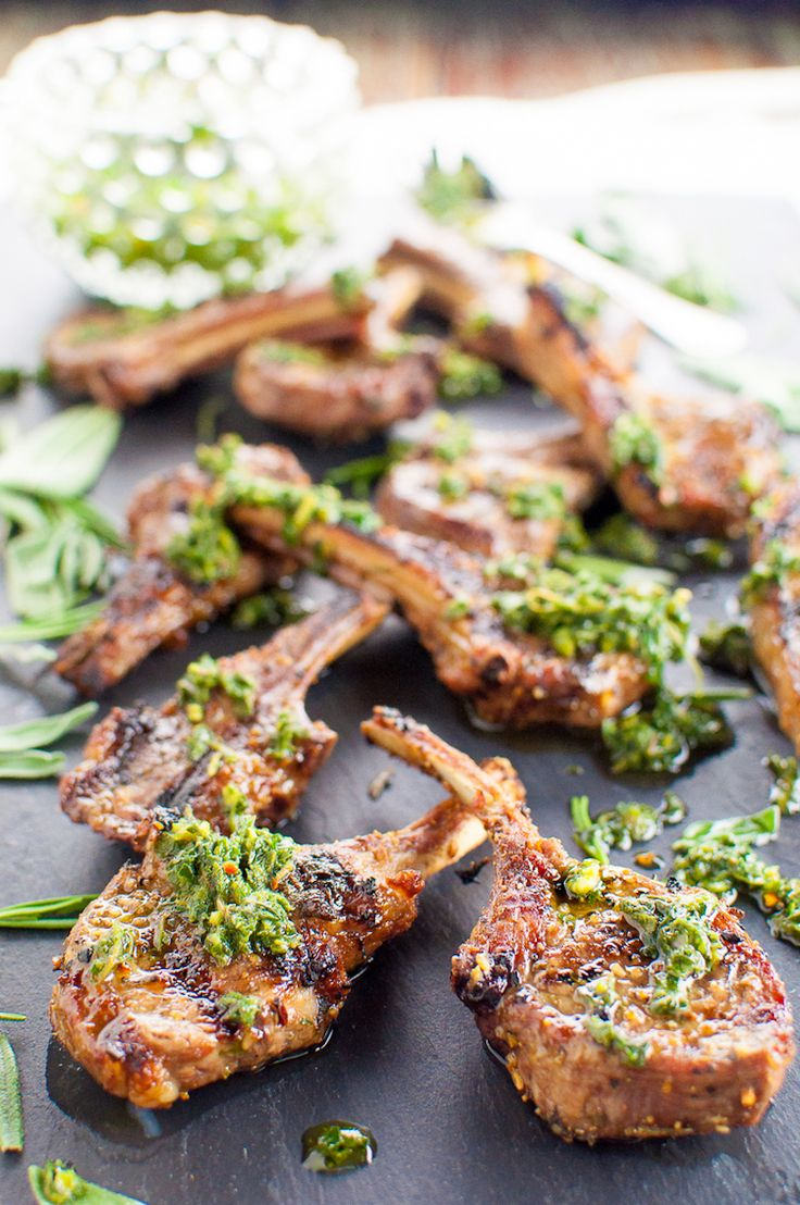 Garlic and Herb Rubbed Lamb Chops with Mint Chimuchurri
