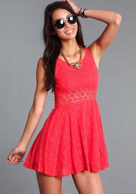 Daisy Crochet Dress, CORAL, large