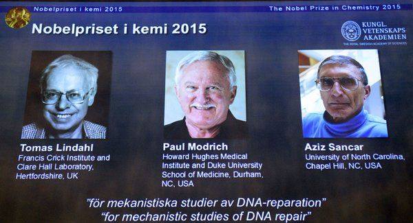 Nobel Prize in Chemistry Awarded to Tomas Lindahl, Paul Modrich and Aziz Sancar for DNA Studies - NYTimes.com