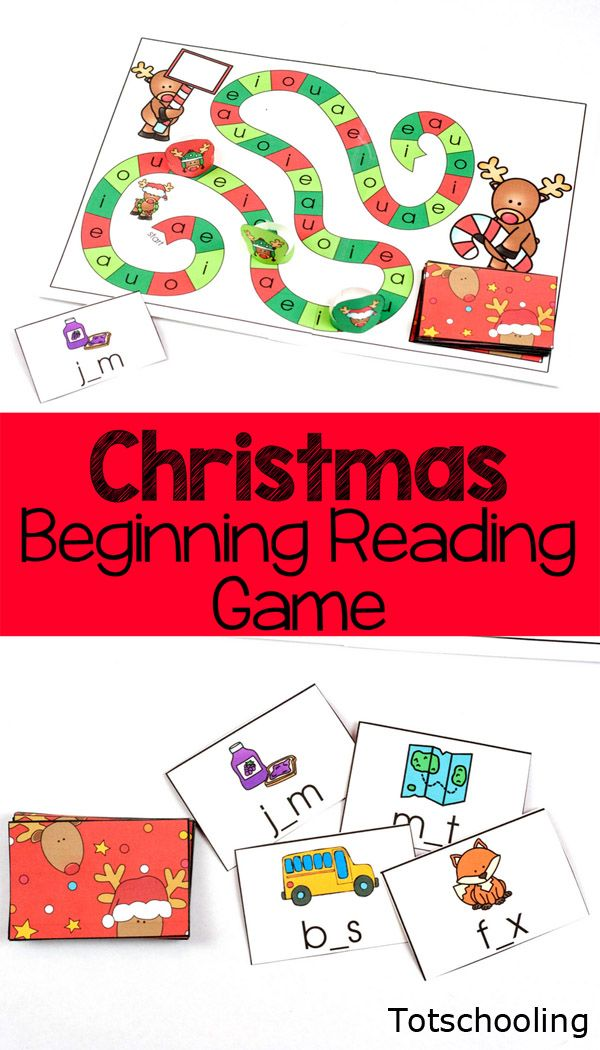 FREE printable board game for kindergarten kids to practice reading CVC words with a fun Christmas theme with reindeers! Great literacy activity for the holidays!