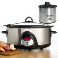 Rival Crock-Pot SCVC604H-SS 6-quart Programmable Hinged Smartpot Slow Cooker.  I need this as it automatically goes to warm setting after temperature or cooking time is reached.  From $40