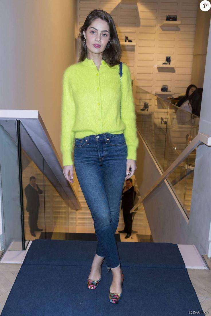 Marie-Ange Casta - Soirée de présentation de la collection capsule Prismick Denim de Camille Seydoux pour Roger Vivier à Paris, le 7 mars 2016.