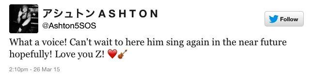 ashton's tweet about zayn leaving one direction :c