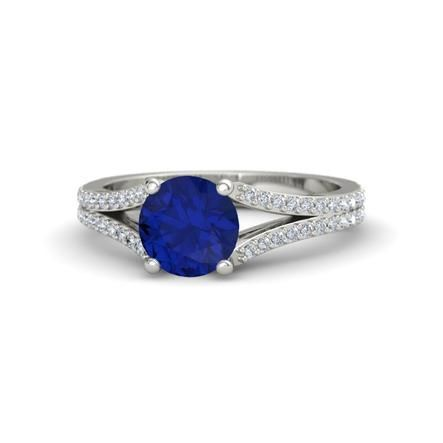 The Jillian Ring customized in blue sapphire, diamond and white gold