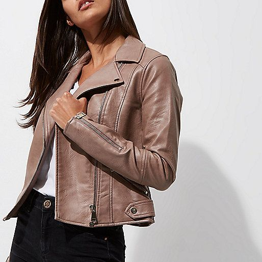 Mink brown faux leather biker jacket - jackets - coats / jackets - women
