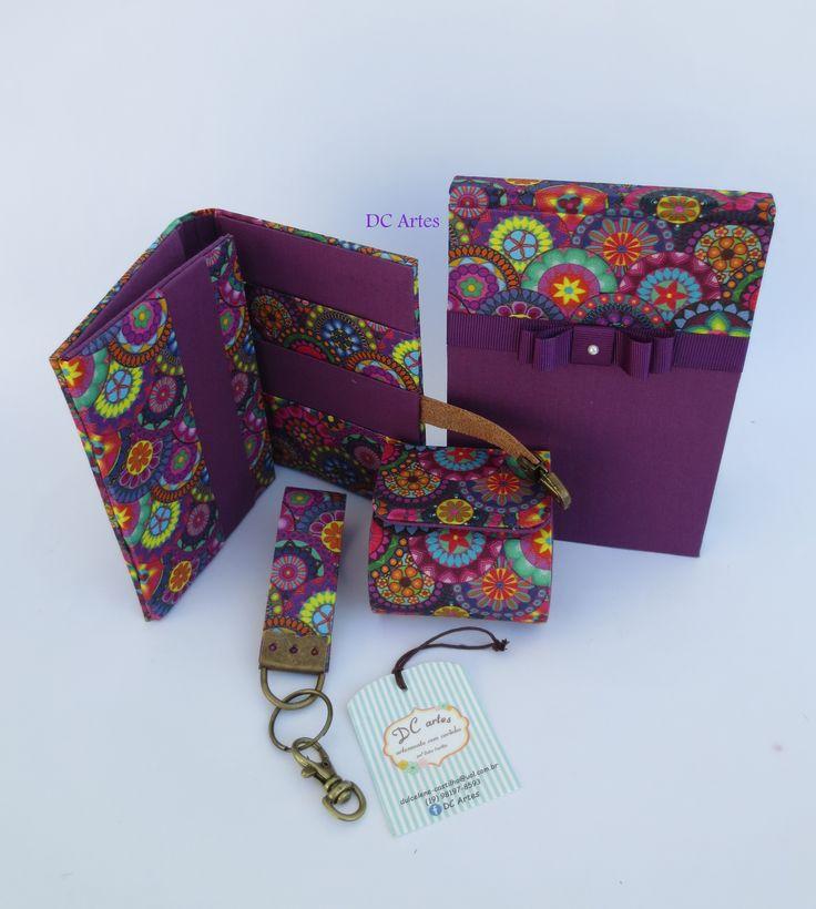 Kit mulher Elegante carteira, porta moedas, chaveiro  e bloco de anotações