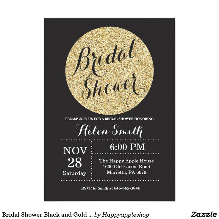 words to write in wedding shower card%0A Bridal Shower Black and Gold Glitter Invitation