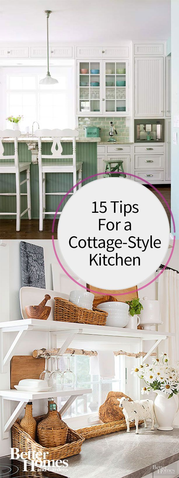 Add a little cottage-style to your kitchen with these easy and simple tips. See how you can create a warm and charming cottage feel to your kitchen space with these tips and ideas.