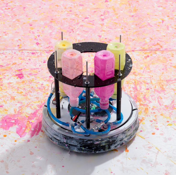 Art By Mr.Head - A Japanese artist turned a Roomba into an art machine machine.