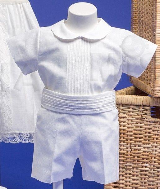 4adf0ce15 Traje para bautizo de niño de lino con jaretas y fajín