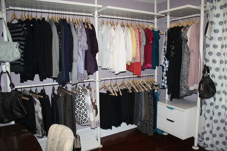STOLMEN IKEA closet idea - minus the purple.  Nice use of high ceilings in closet