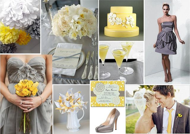 Yellow And Grey Wedding Theme By One White Dress Via Flickr