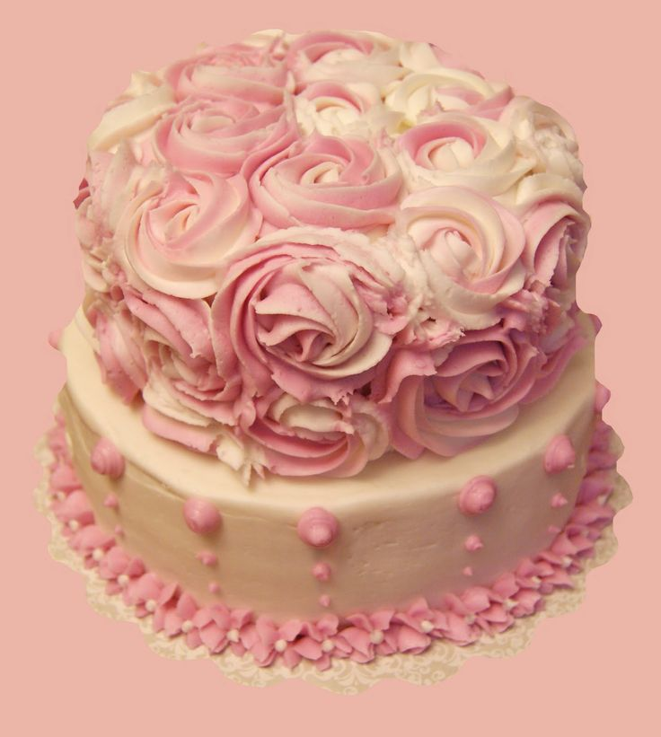 Beautiful pink and white Rosette Cake. Girl Baby Shower Pinterest Cake Decorating Courses ...