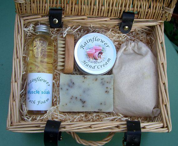 Gardener's wicker hamper gift set by RainflowerKent on Etsy, £30.00