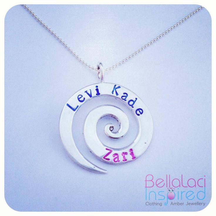BellaLaci Sterling Silver Handstamped Love Spiral Pendant with coloured impressions.