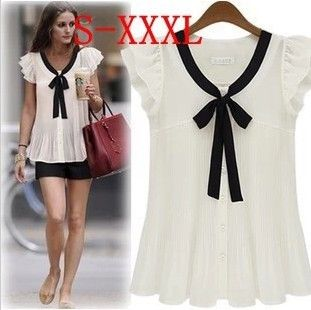 Aliexpress.com : Buy Fashionable loose chiffon shirt Women's ruffle sleeve solid bow tops summer lady's all match shirt Free Shipping 6 size T6693 from Reliable skull hard suppliers on CTS  FASHION MALL. $10.95