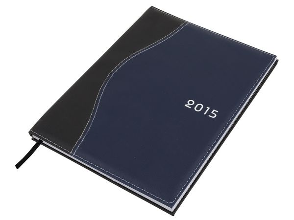 Wave Diary A4 Colour(s): Black-Blue Material: Koskin & White Stitching Size: 21 (w) x 29 (l) - closed  Branding Methods: Silk Screening  (Default Method) , Debossing , Full Colour Print Additional Info: Page-A-Day. Satin Bookmark