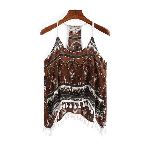 SheIn(sheinside) Tribal Print Fringe Cami Top ($13) ❤ liked on Polyvore featuring tops, multi color, camisole tank tops, vintage tank, brown tank, fringe tank and cotton tank tops