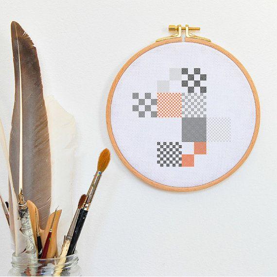 Kruissteek borduren, moderne abstracte geometrische kubistische muurschildering oranje grijze rechthoeken muurschildering keuken woonkamer - BLIBLABLUPP