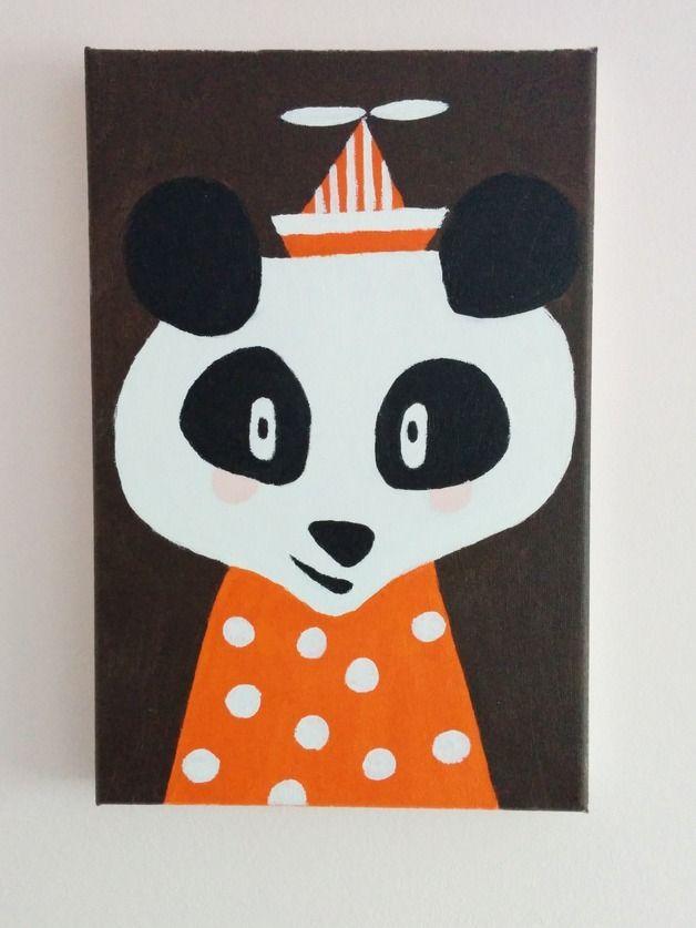 Obraz na płótnie ręcznie malowany. Panda handmade.