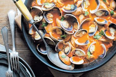 Stew of sausage and clams