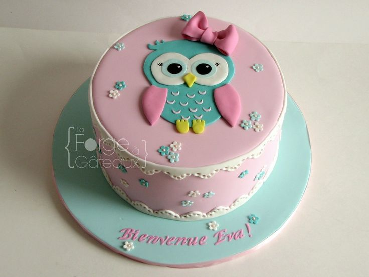Cute owl cake for baby girl baptism or baby show.