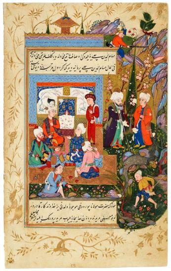 Ḥusām Al-Dīn Chelebi is Brought to a Reception Given for Rūmī by Mucīn Al-Dīn Parvāna, a Minister of Konya   Husam Al-Din Chelebi   The Morgan Library & Museum