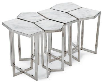 Eastwood Hollywood Regency White Marble Silver Puzzle Coffee Table Set of 6 transitional-coffee-tables