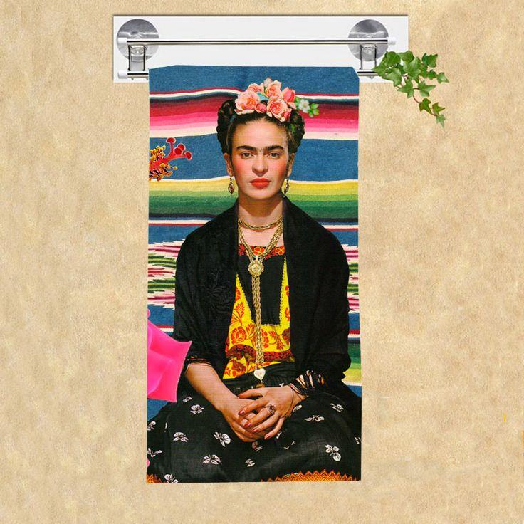 Frida Kahlo Self-portrait Pattern Bamboo Microfiber Bath Towels,High Quality Beach Bathroom Towel for Adults_Size:35CMX70CM