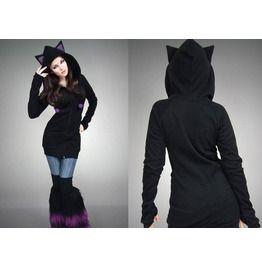 Cat Long Hoodie Purple